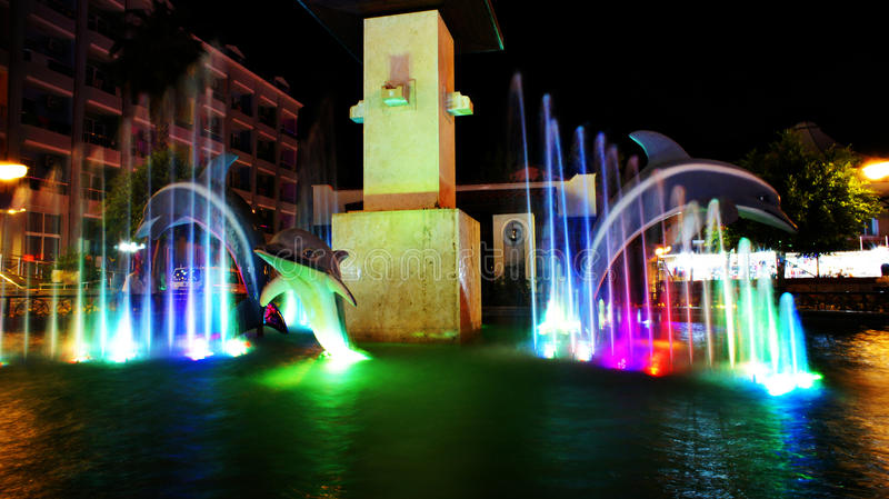 五颜六色的喷泉 库存图片