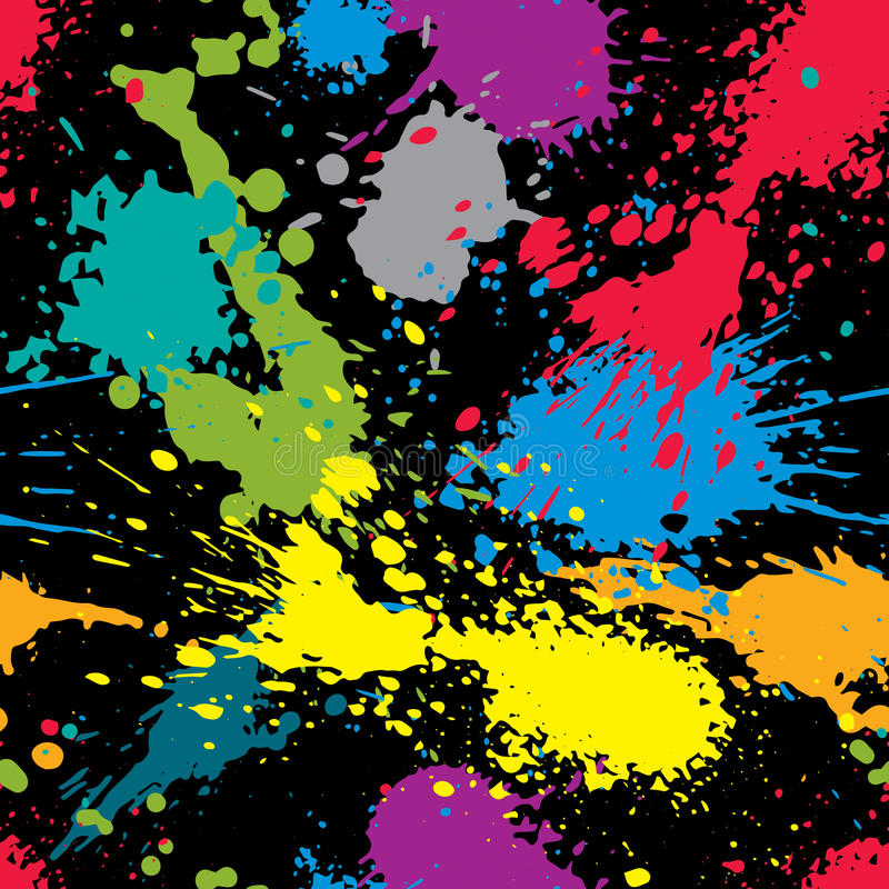 五颜六色的喷溅的网络设计重复样式,杂乱艺术墨水blo 皇族释放例证