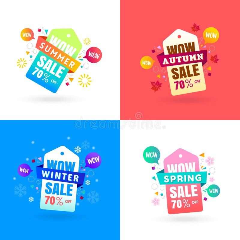 五颜六色的四个季节销售标签标记汇集春天,夏天, 向量例证