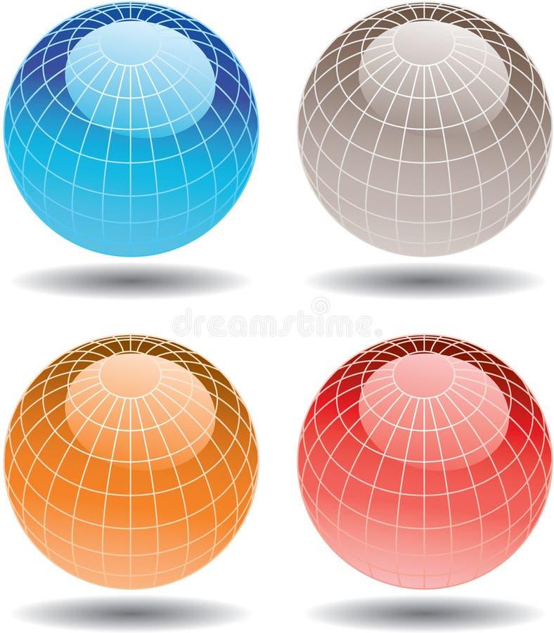 五颜六色的四个玻璃地球 向量例证