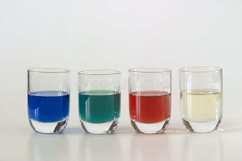 五颜六色的四块玻璃 库存图片