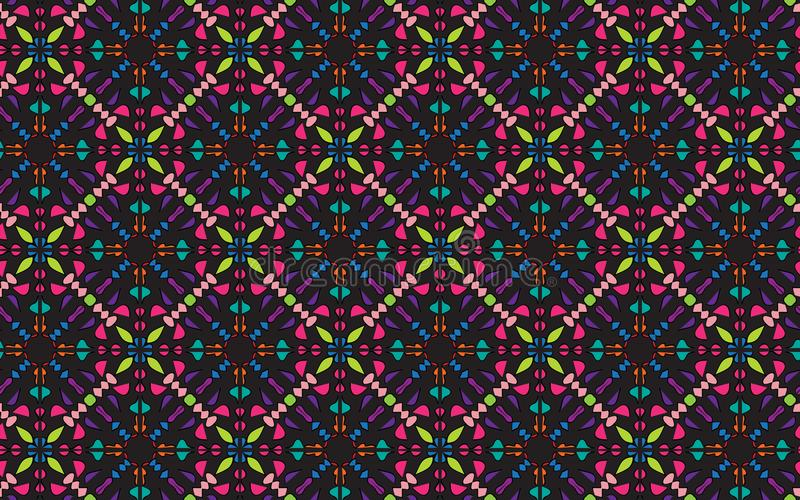 五颜六色的四方的对称坛场样式 皇族释放例证
