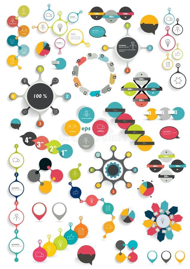 五颜六色的回合信息图表图的汇集 皇族释放例证