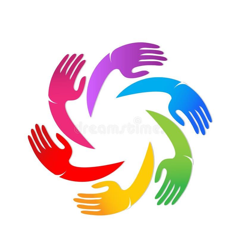 五颜六色的团结一起递传染媒介商标 向量例证