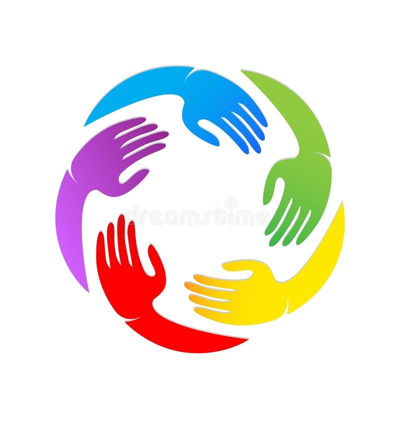 五颜六色的团结一起递传染媒介商标 皇族释放例证