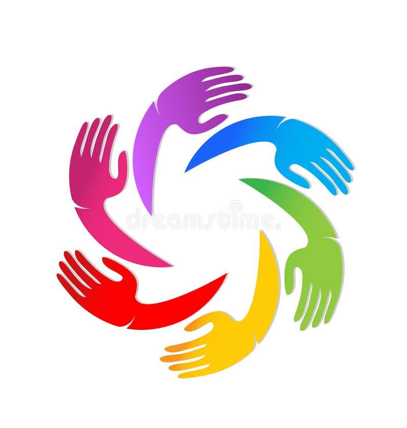 五颜六色的团结一起递传染媒介商标 库存例证