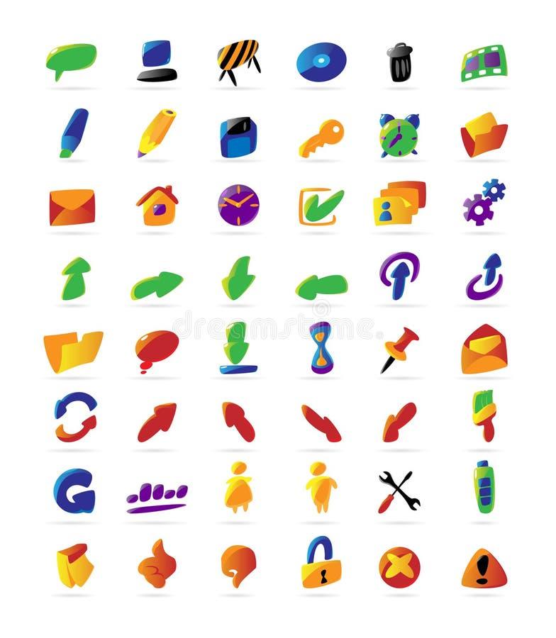 五颜六色的图标界面 皇族释放例证