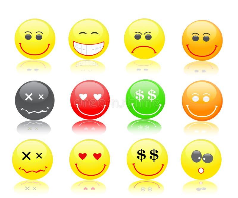 五颜六色的图标集微笑 皇族释放例证