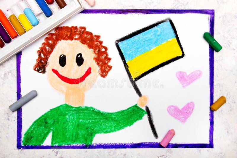 五颜六色的图画:拿着乌克兰旗子的愉快的人 库存图片