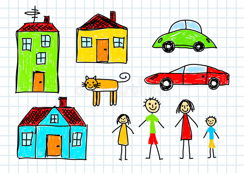 五颜六色的图画 向量例证