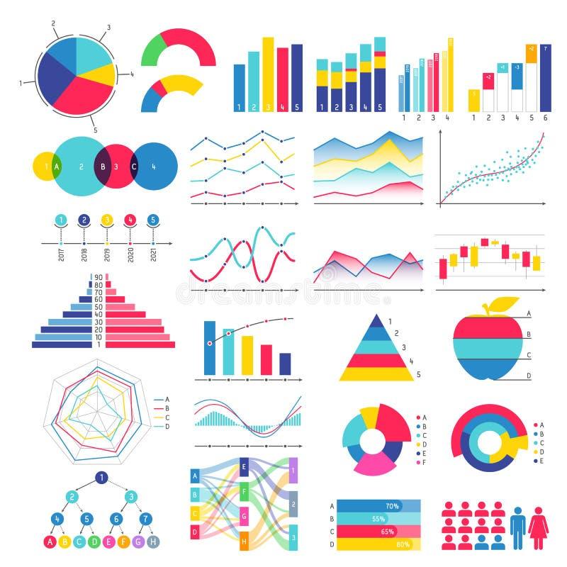 五颜六色的图表和图设计 皇族释放例证