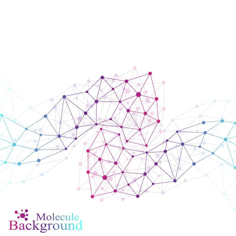 五颜六色的图表背景分子和通信 与小点的被连接的线 医学,科学,技术设计