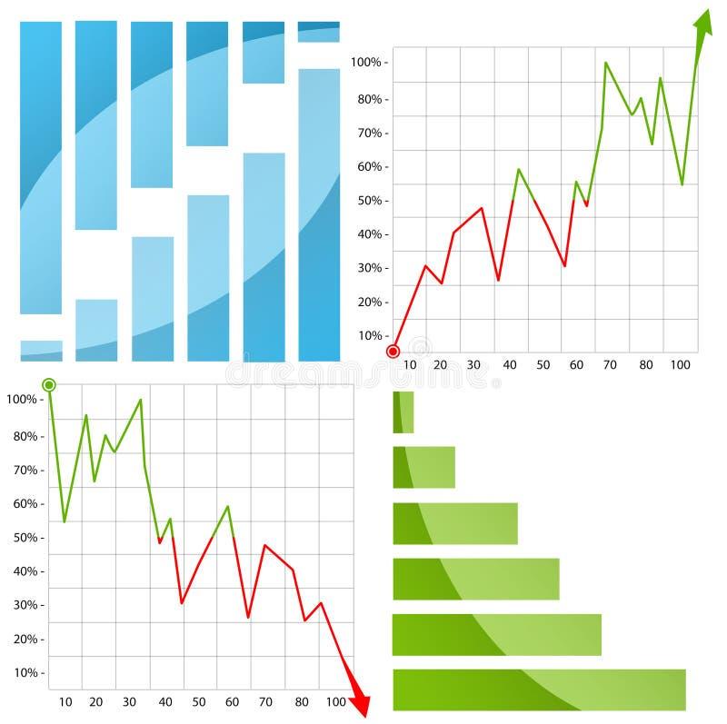 五颜六色的图表/图与箭头在白色 免版税库存图片