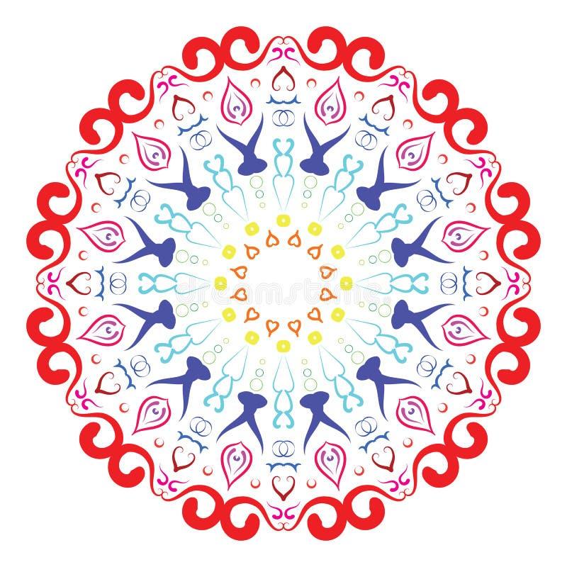 五颜六色的圆样式以坛场的形式无刺指甲花的,马哈迪,纹身花刺,装饰 在种族东方样式的装饰装饰品 皇族释放例证