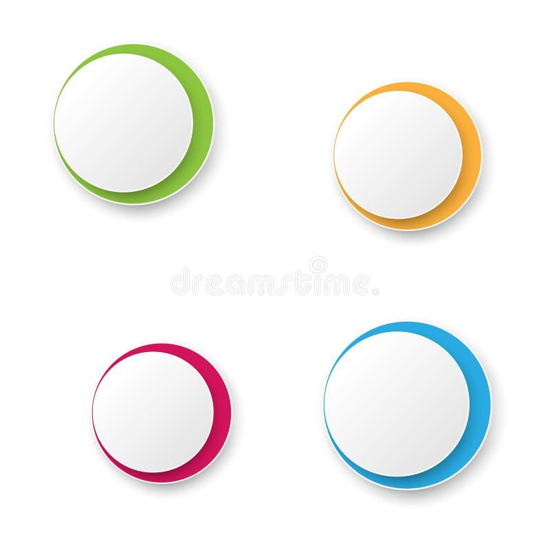 五颜六色的圆的凸面按钮 也corel凹道例证向量 皇族释放例证