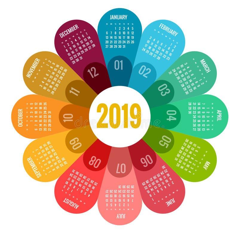五颜六色的圆的日历2019设计、印刷品模板、您的商标和文本 星期星期天开始 画象取向 2019年 皇族释放例证