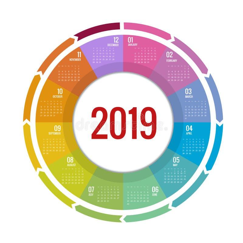 五颜六色的圆的日历2019设计,印刷品模板,您的商标和文本 星期星期天图片