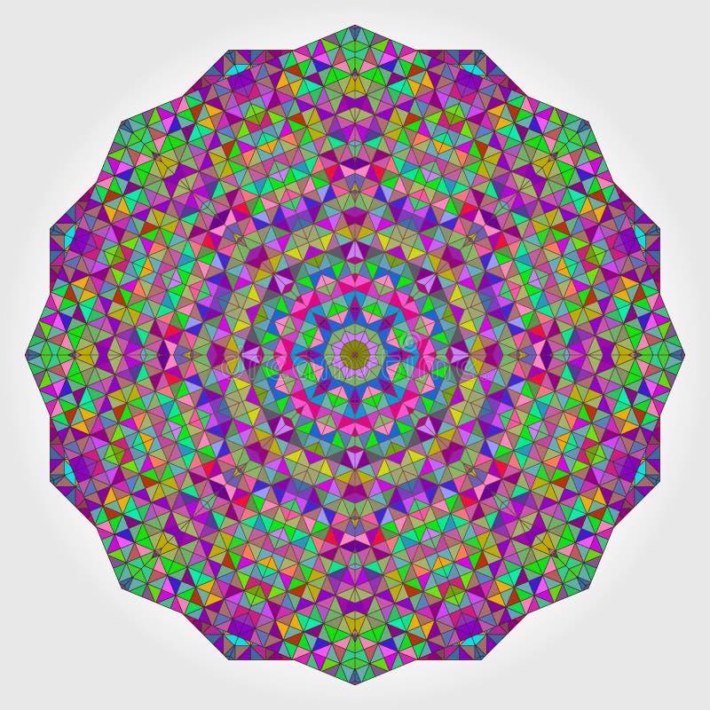 五颜六色的圈子万花筒背景 马赛克抽象花 向量例证