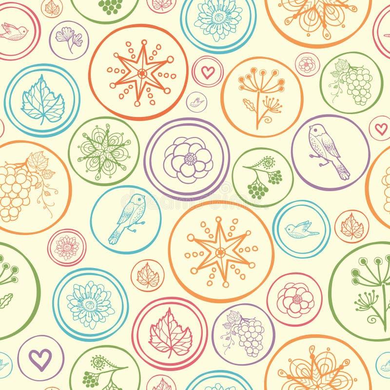 五颜六色的圈子无缝的样式背景 向量例证