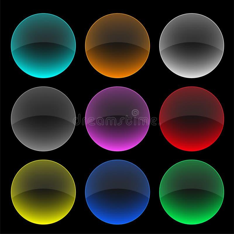 五颜六色的圈子玻璃按钮或横幅集合 库存例证
