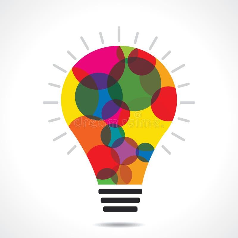 五颜六色的圈子电灯泡背景 皇族释放例证