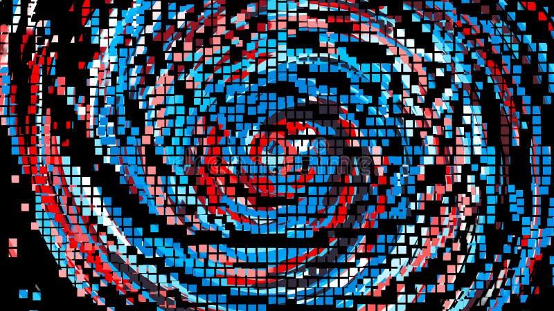 五颜六色的圈子的映象点动画排行,动画片样式背景,计算机生成的背景, 3d回报 皇族释放例证
