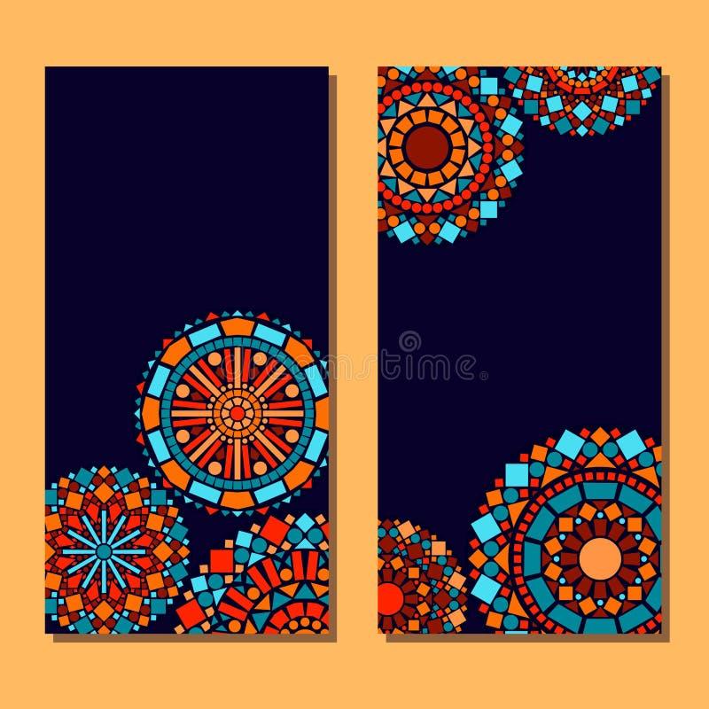 五颜六色的圈子花卉坛场套在蓝色和橙色,传染媒介的卡片背景 皇族释放例证