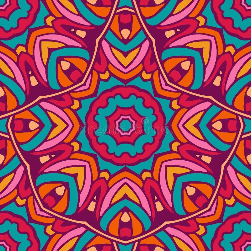 五颜六色的圈子花坛场几何无缝的样式 向量例证