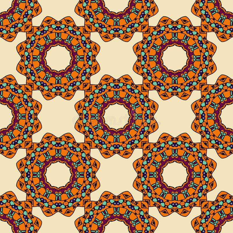 五颜六色的圈子花坛场无缝的样式 库存例证