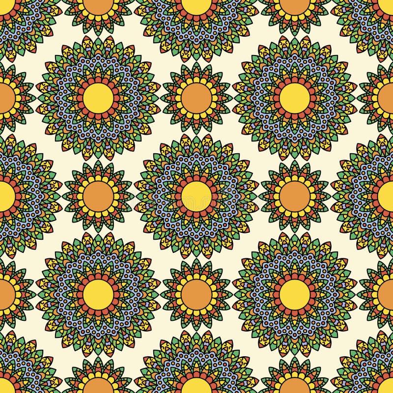 五颜六色的圈子花坛场无缝的样式 皇族释放例证
