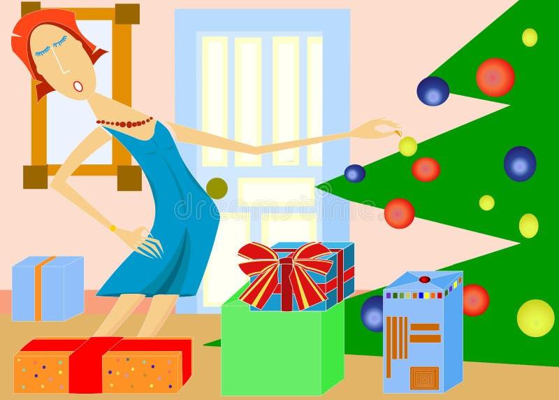 五颜六色的圣诞树场面 图库摄影