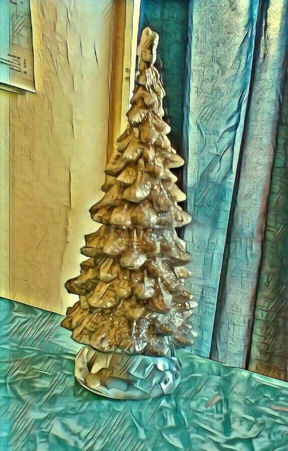 五颜六色的圣诞树背景图象 库存例证