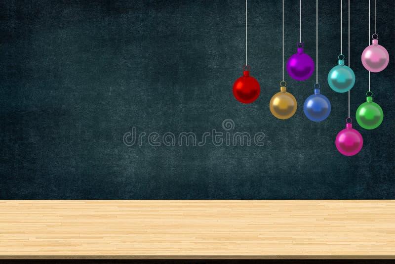 五颜六色的圣诞节球装饰垂悬在学校类有书桌的在黑板背景 图片艺术的w拷贝空间 图库摄影
