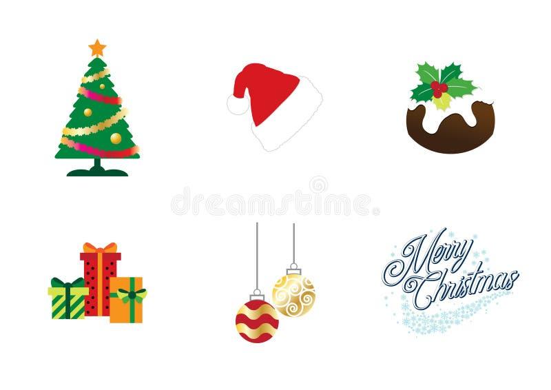 五颜六色的圣诞节象设置了编辑可能的可重新调整的传染媒介 皇族释放例证