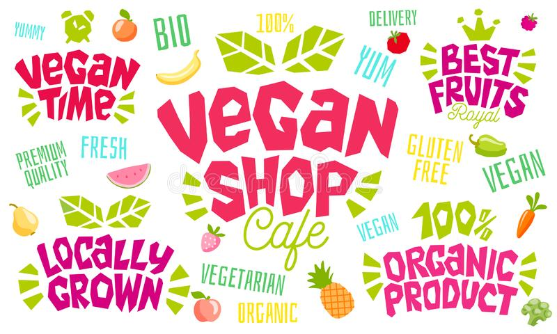 五颜六色的在上写字的标志健康食品象征商标设计 库存例证