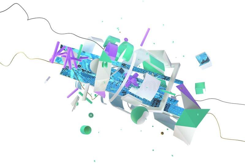 五颜六色的在白色的动力学抽象3D构成 库存照片