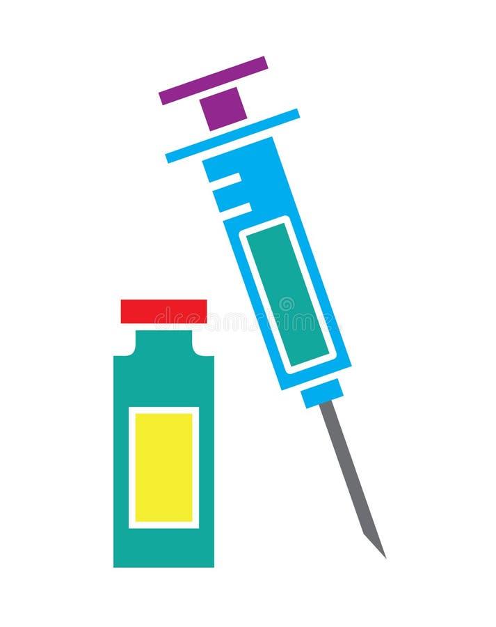 五颜六色的在白色背景中装瓶象传染媒介隔绝的注射器和小瓶 向量例证