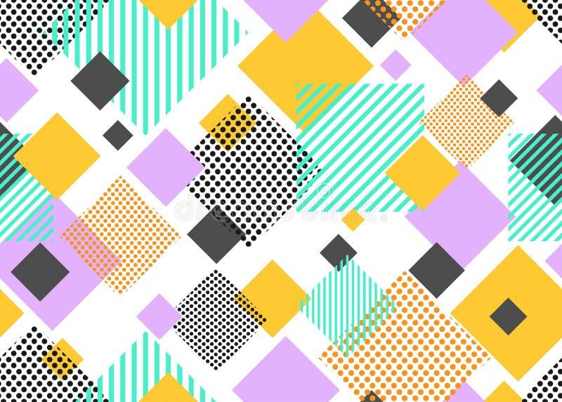 五颜六色的在白色背景的三角几何现代形状的无缝的样式 向量例证