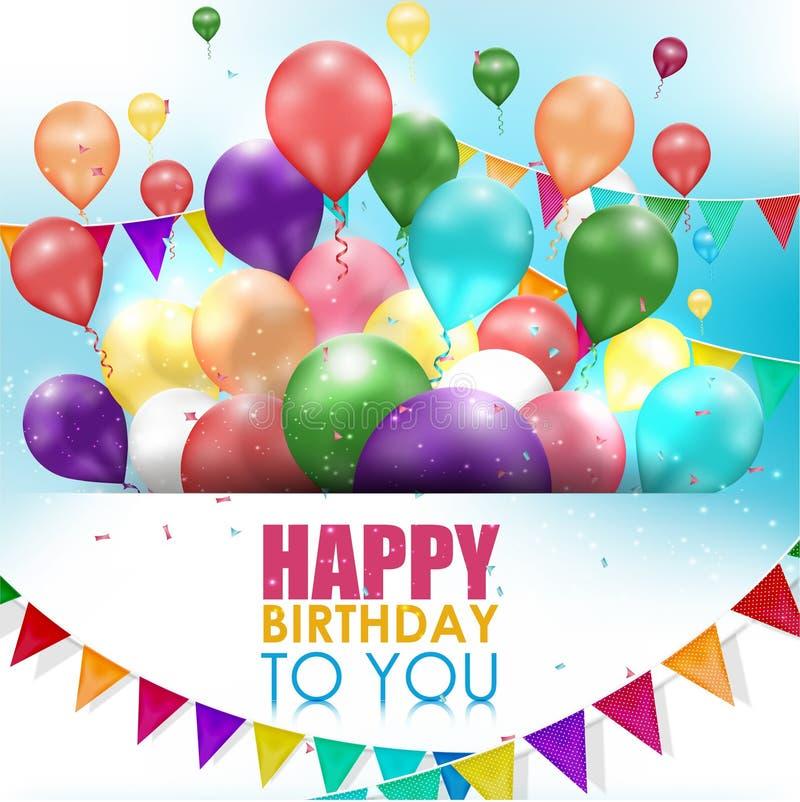 五颜六色的在白色背景的气球生日快乐 向量例证