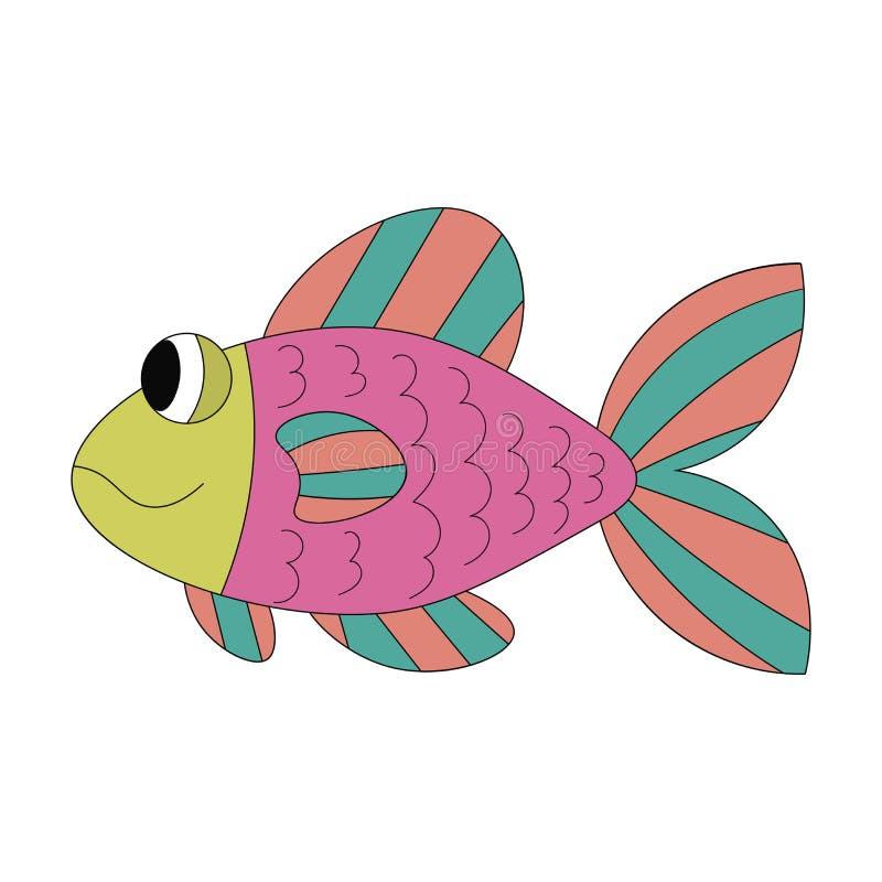 五颜六色的在白色背景隔绝的动画片逗人喜爱的喜悦的鱼 皇族释放例证