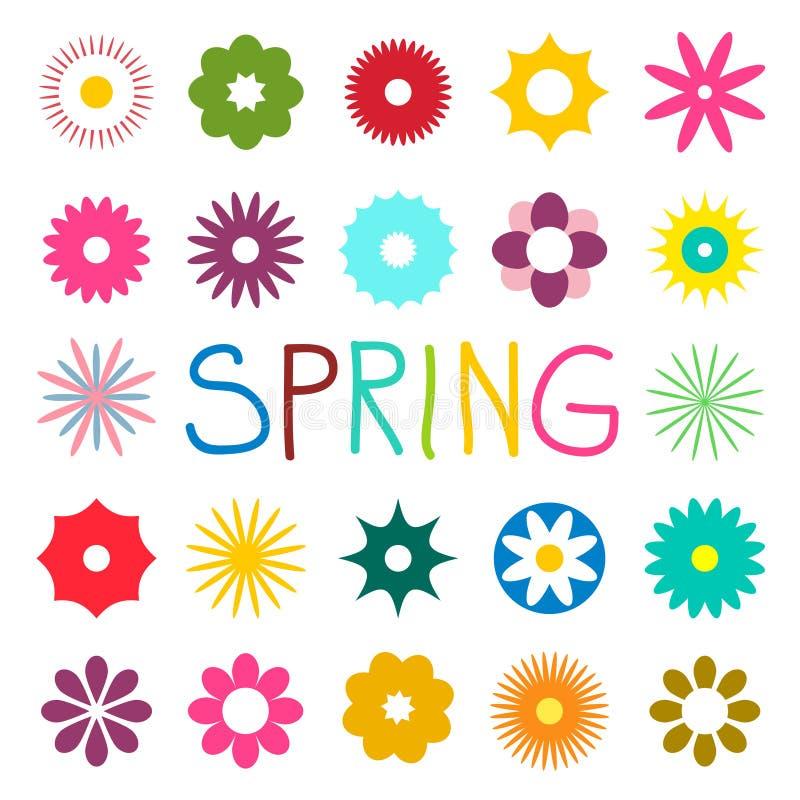 五颜六色的在白色背景隔绝的春天平的花 向量例证