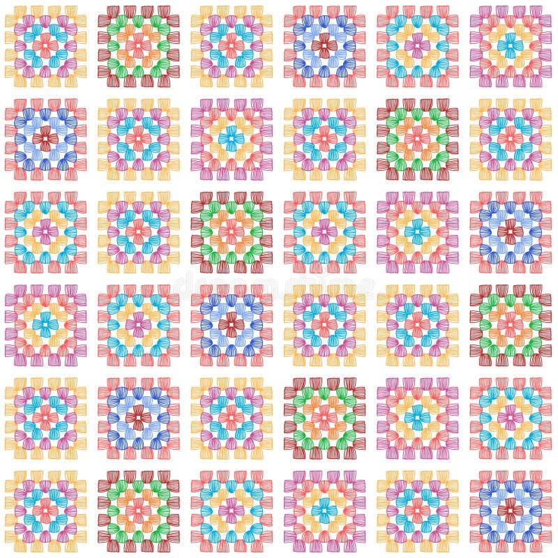 五颜六色的在白色,传染媒介的老婆婆正方形钩针编织毯子无缝的样式 皇族释放例证