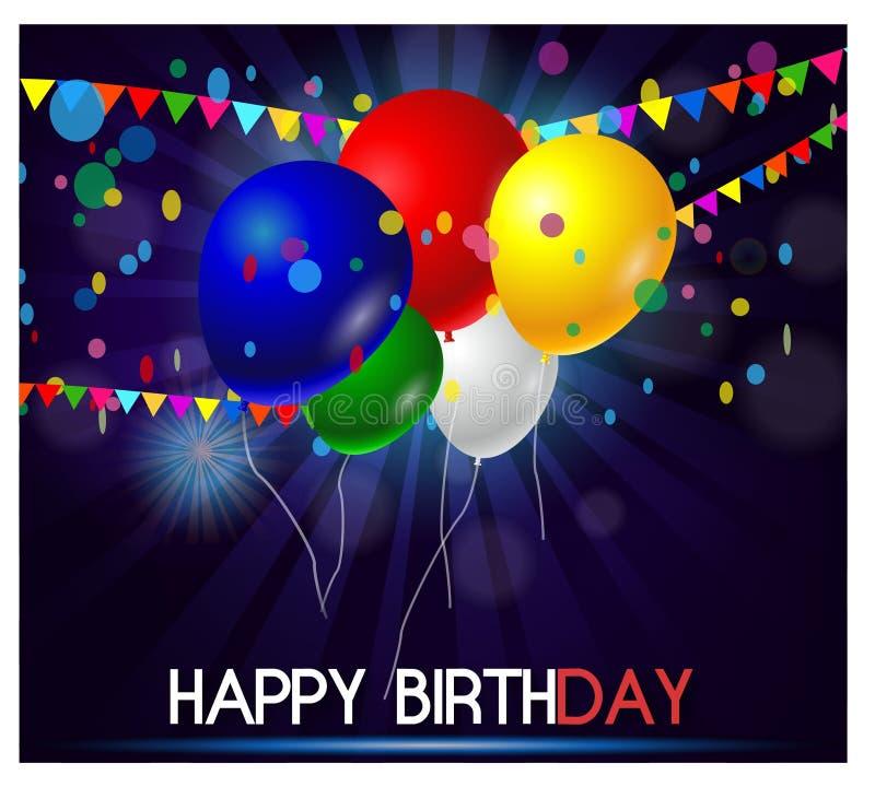 五颜六色的在紫色背景的气球生日快乐 向量例证