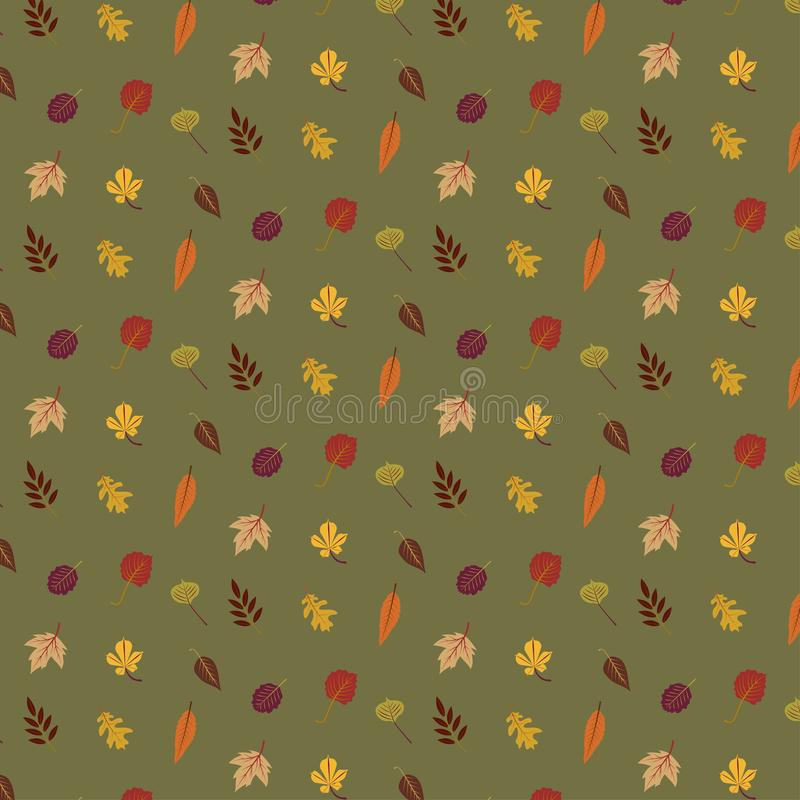 五颜六色的在绿色背景秋叶样式被隔绝 皇族释放例证