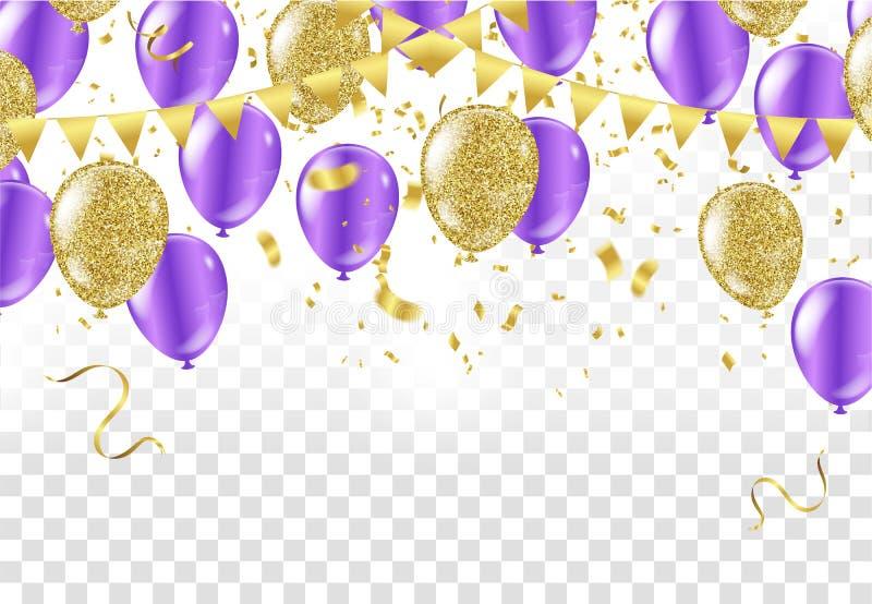 五颜六色的在背景的气球生日快乐 向量 皇族释放例证