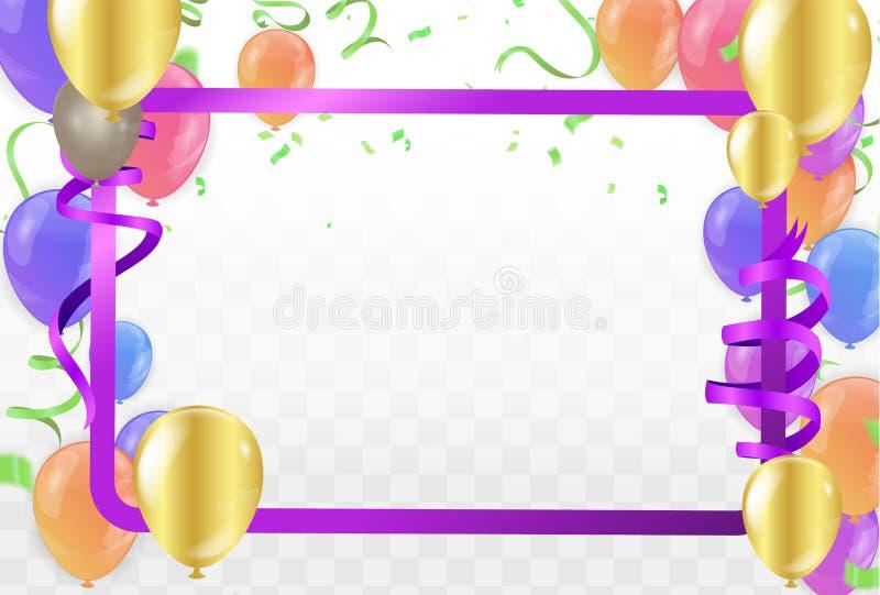 五颜六色的在背景的气球生日快乐 向量 库存例证