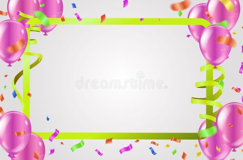 五颜六色的在背景的气球生日快乐 向量 向量例证