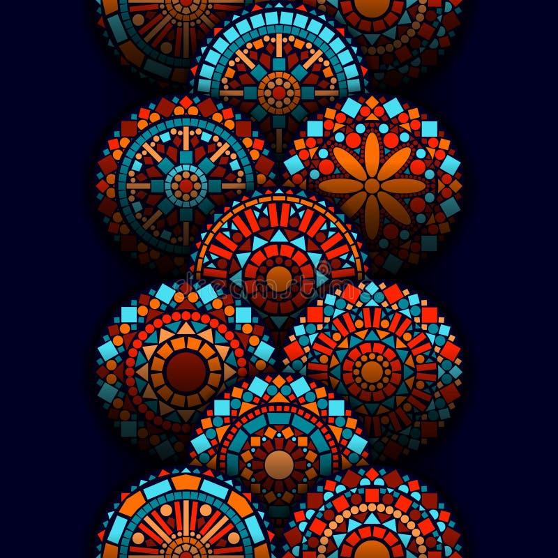 五颜六色的在蓝色红色和桔子,传染媒介的圈子花坛场几何无缝的边界 向量例证