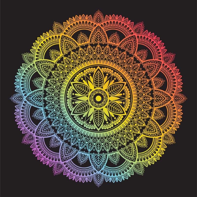 五颜六色的在黑背景的彩虹种族坛场 r 免版税图库摄影