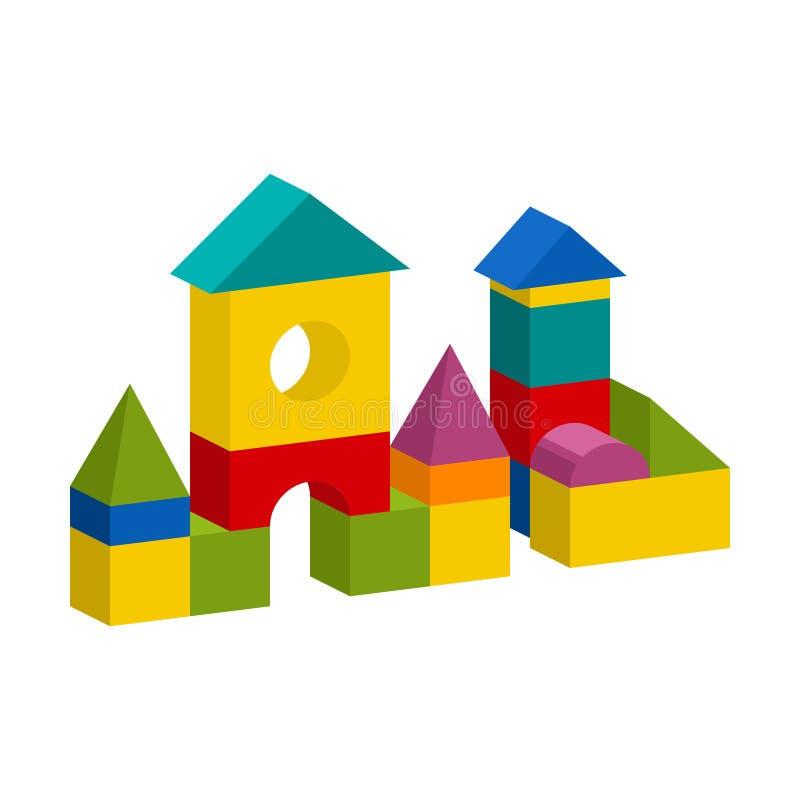五颜六色的块戏弄大厦塔,城堡,房子 库存例证